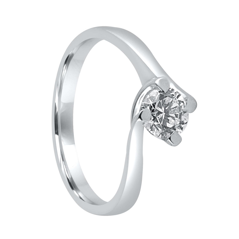 Anello solitario in oro bianco con diamante ct. 0,70 - ALFIERI & ST. JOHN