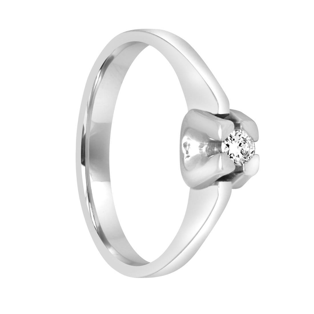 Anello solitario in oro bianco con diamante ct. 0,09 - ALFIERI ST JOHN
