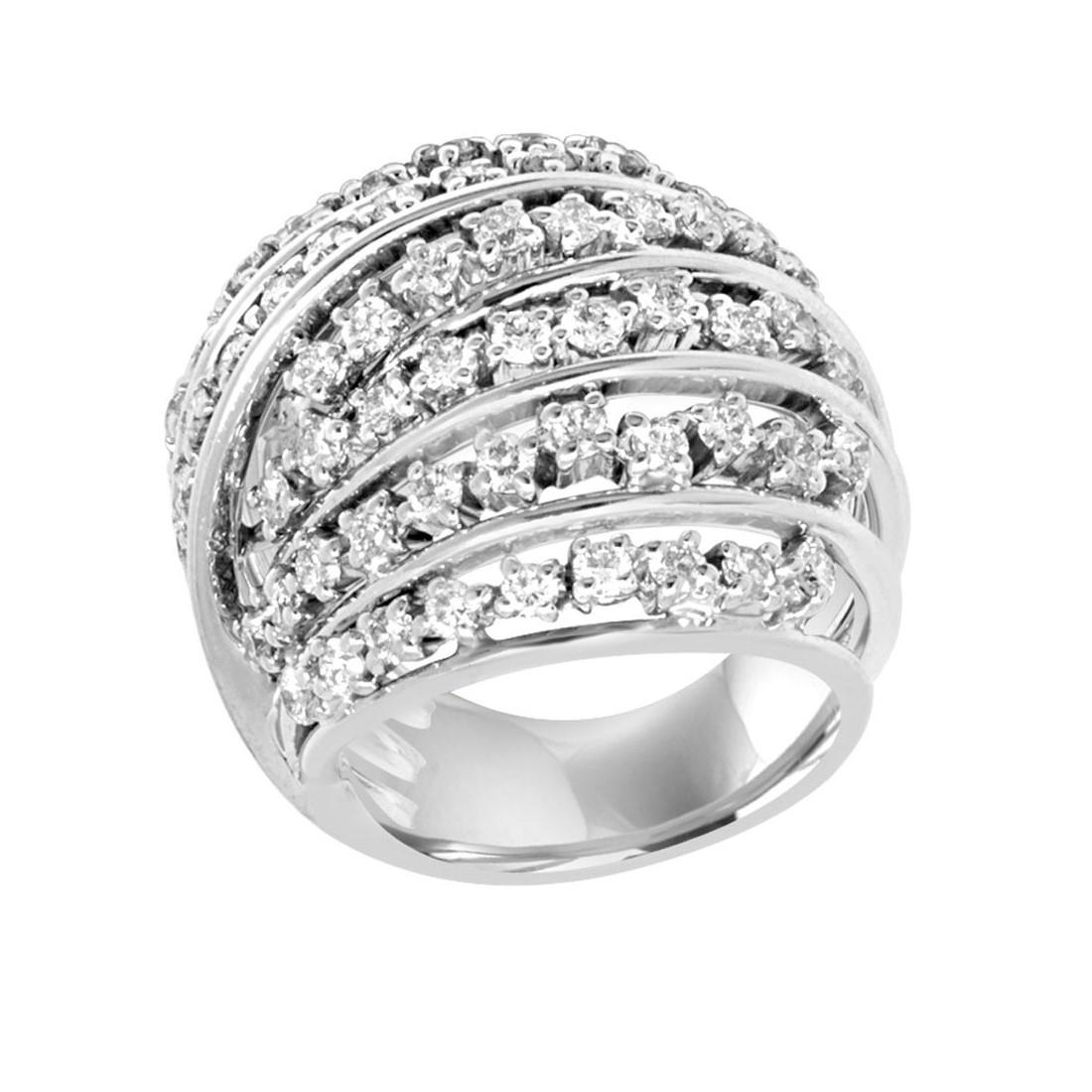Anello design in oro bianco con diamanti mis 13 - ORO&CO