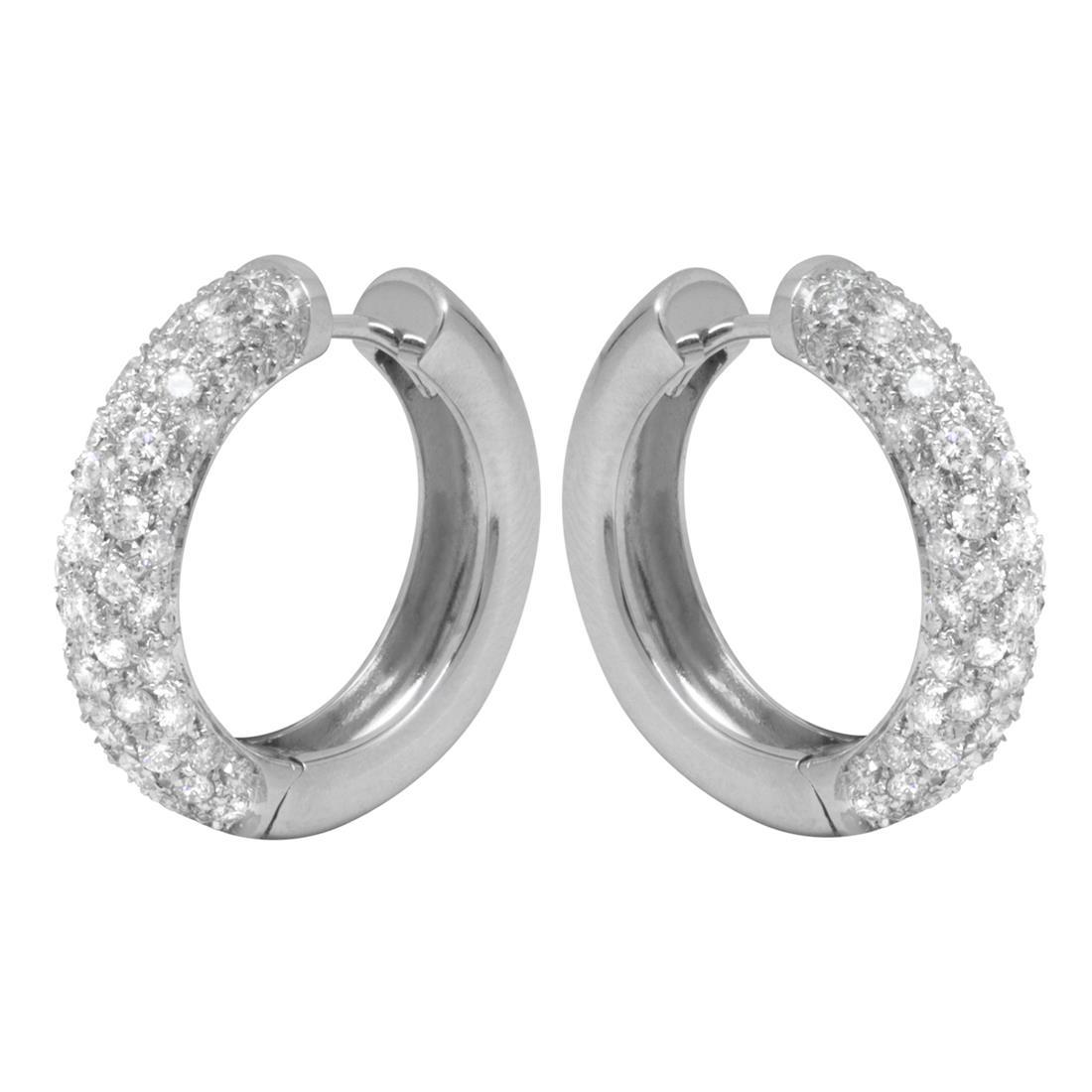 Orecchini in oro bianco con diamanti ct 2.70, pendente 2 cm - ORO&CO