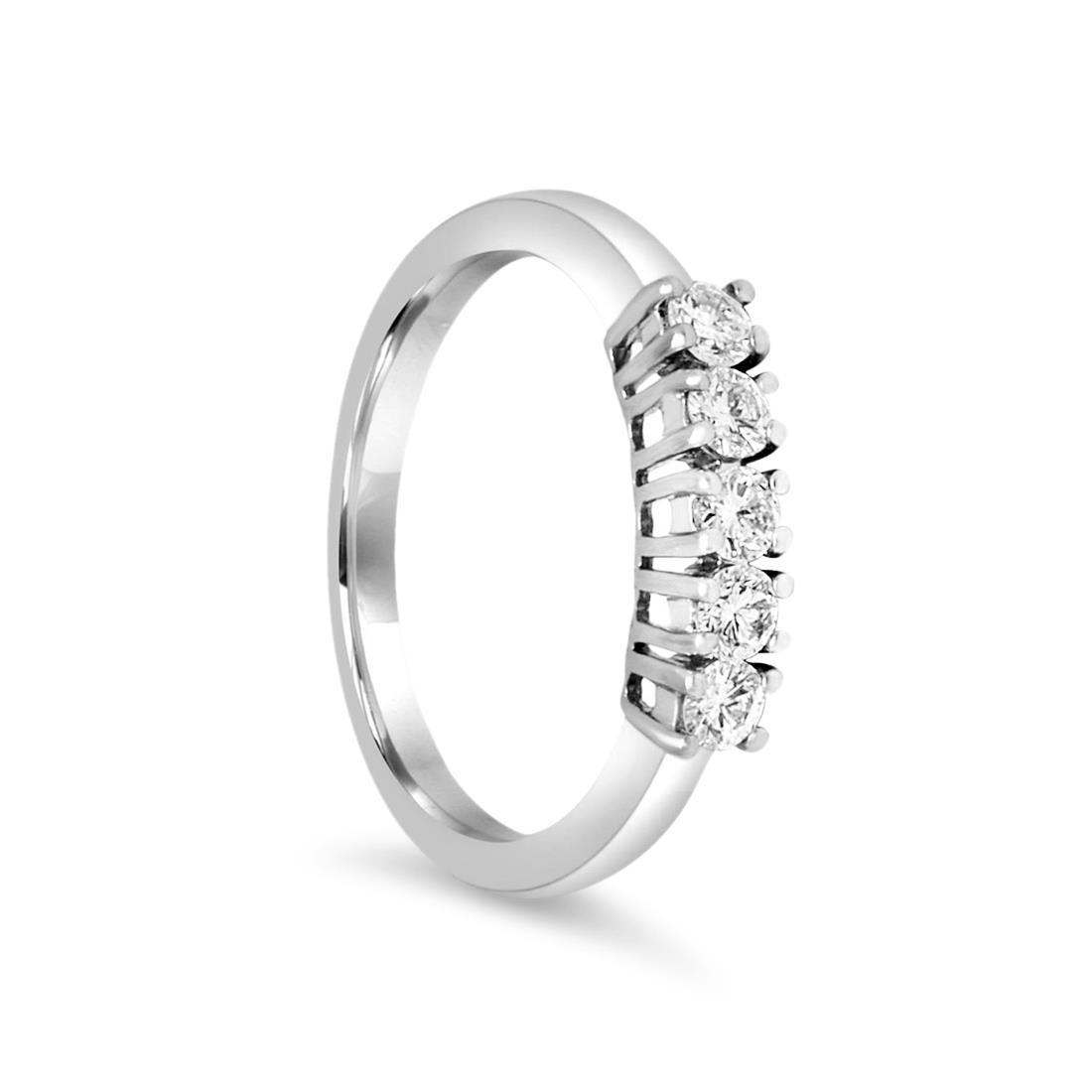 Anello riviere 5 pietre in oro bianco con diamanti 0.40 ct mis 13 - ALFIERI ST JOHN