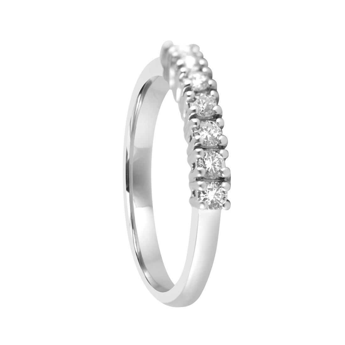 Anello riviere 7 pietre in oro bianco con diamanti mis 14.5 - ALFIERI & ST. JOHN