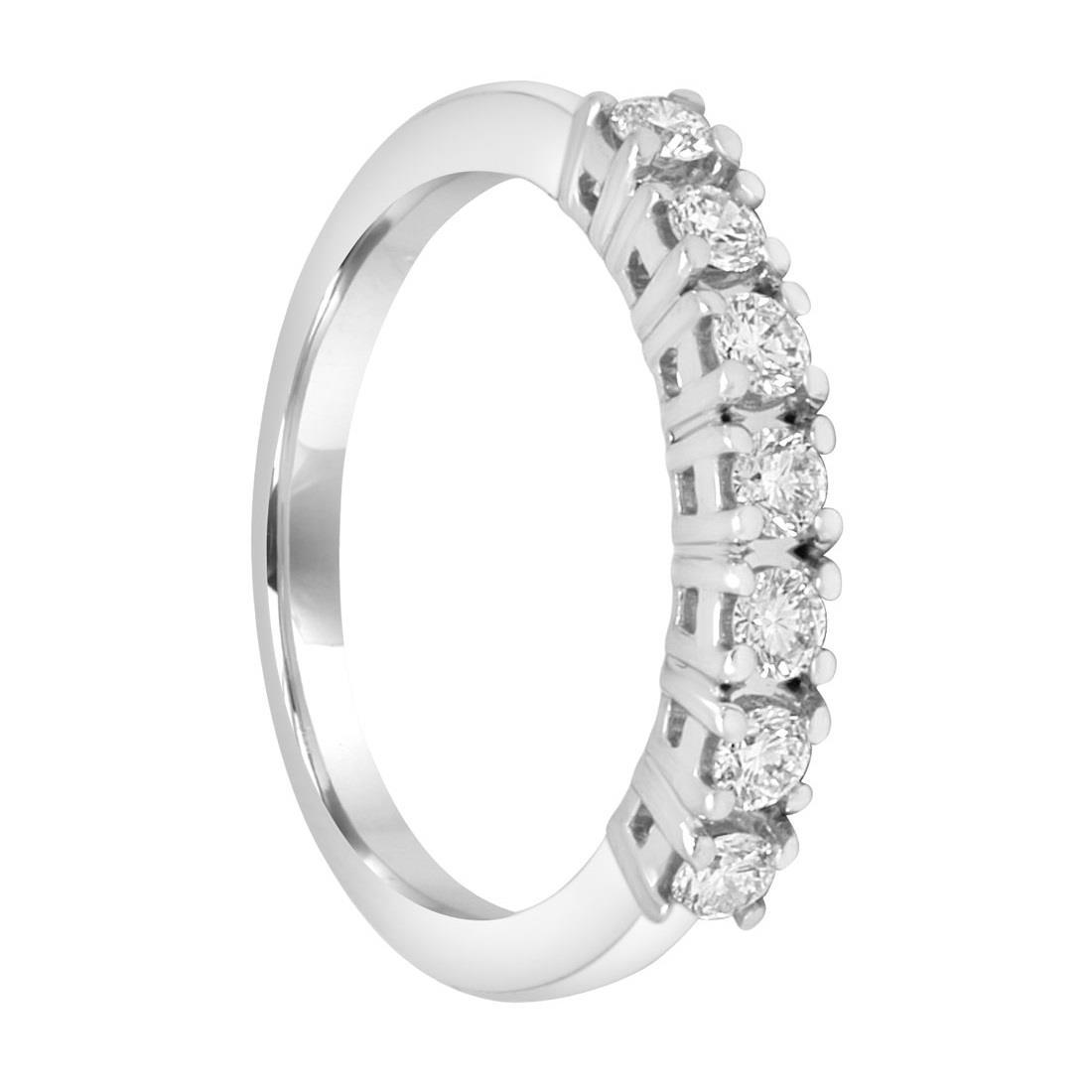 Anello riviere 7 pietre in oro bianco con diamanti 0.45 ct mis 15 - ALFIERI ST JOHN