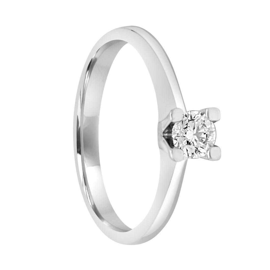 Anello solitario in oro bianco con diamante 0.30 ct mis 14 - ALFIERI ST JOHN