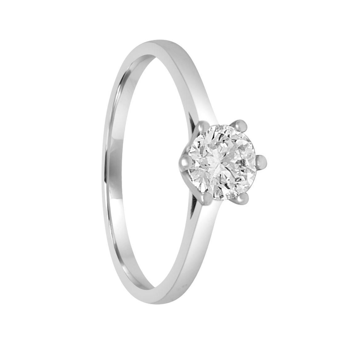 Anello solitario in oro bianco con diamante ct. 0,50 mis 14 - ALFIERI ST JOHN