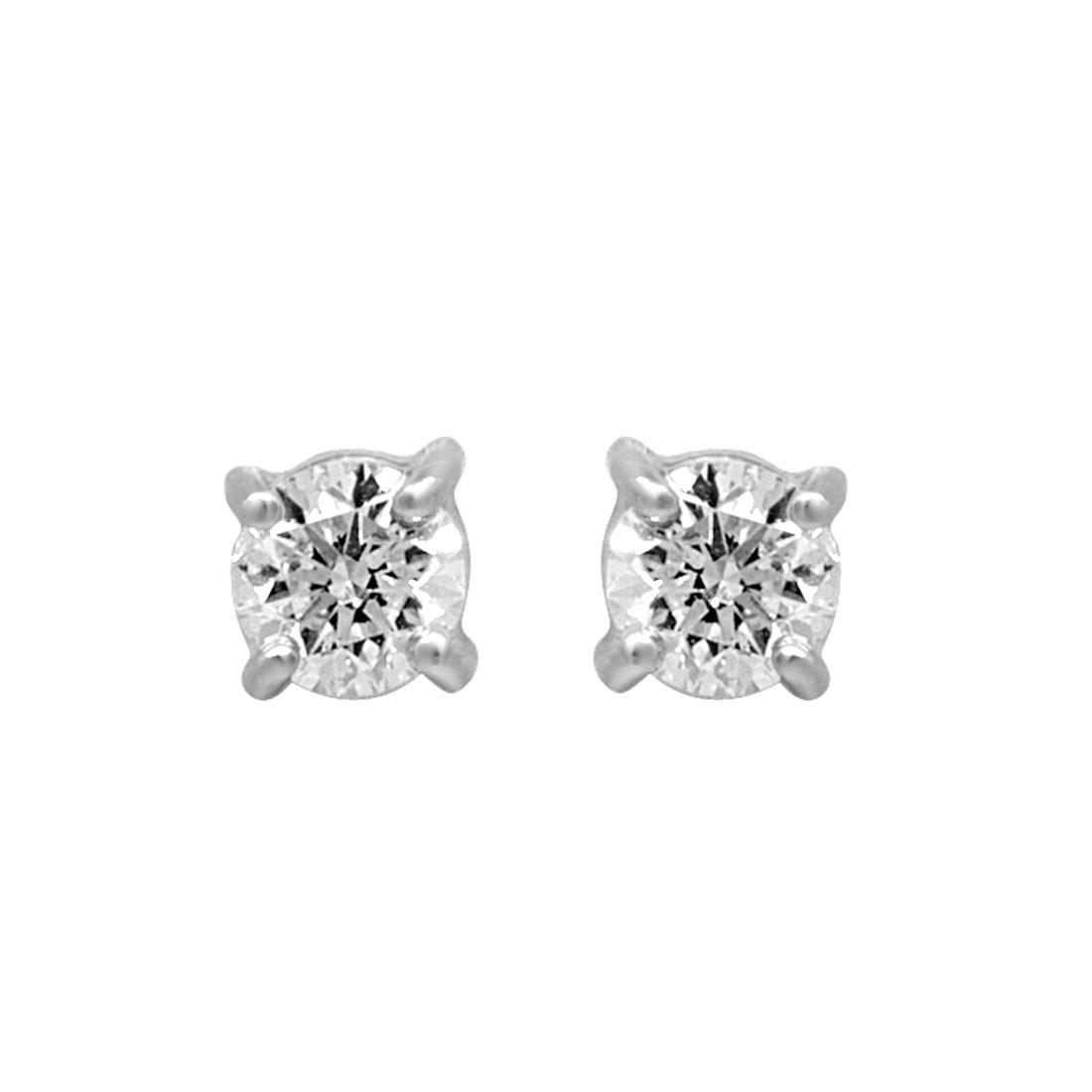 Orecchini punto luce in oro bianco con diamanti ct 0.40 - ALFIERI & ST. JOHN