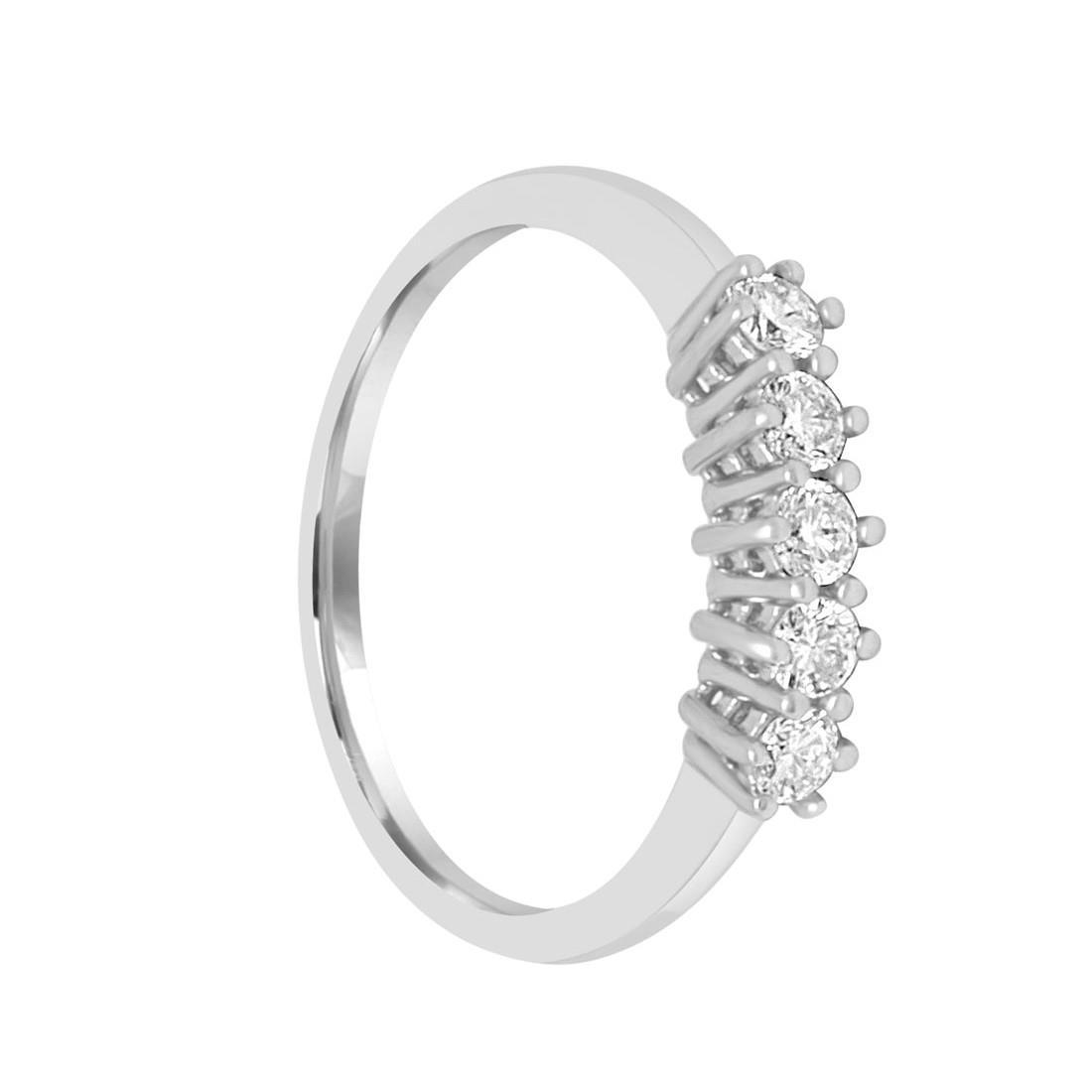 Anello riviere 5 pietre in oro bianco con diamanti 0.30 ct - ALFIERI & ST. JOHN