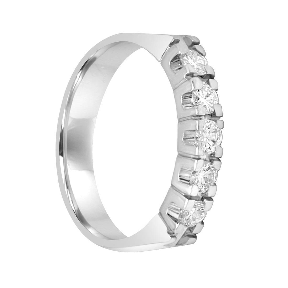 Anello veretta 5 pietre in oro bianco e diamanti ct 0.50, misura 14 - ORO&CO