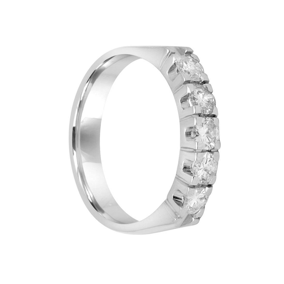 Veretta 5 pietre in oro bianco con diamanti mis13.5 - ORO&CO