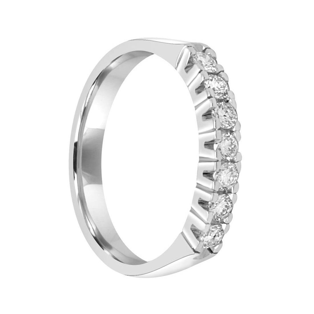 Anello veretta 7 pietre in oro bianco con diamanti 0.35 ct - ORO&CO