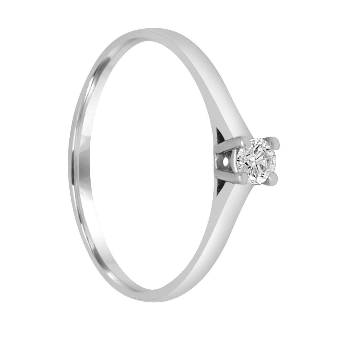 Anello solitario in oro bianco con diamante mis 14 - ORO&CO