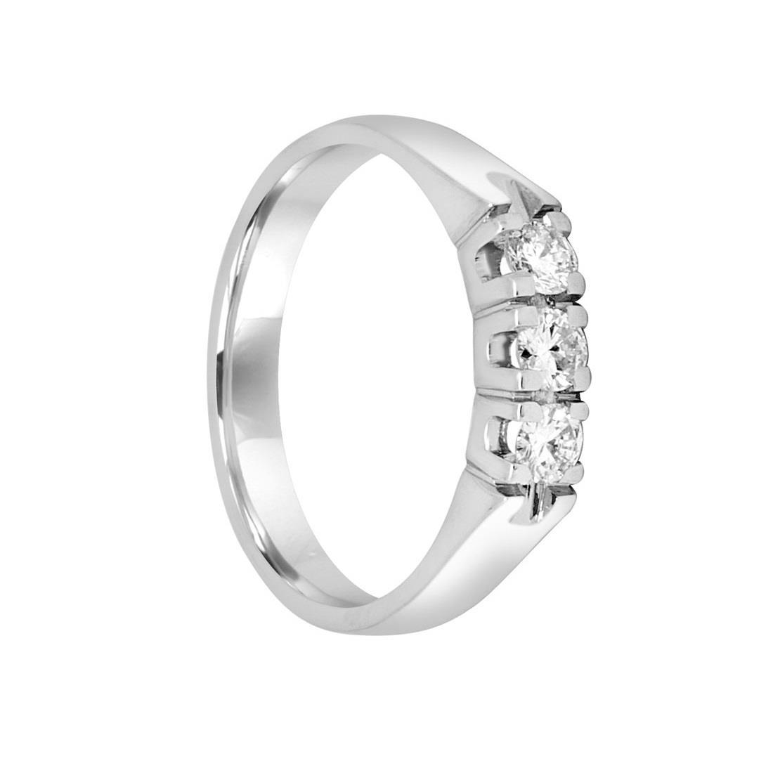 Anello trilogy in oro bianco con diamanti mis 15 - ORO&CO