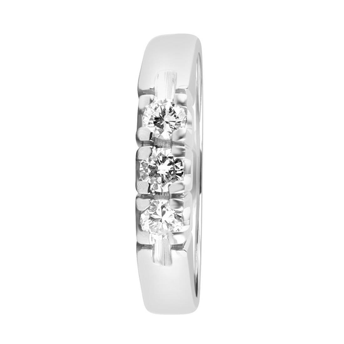 Anello trilogy in oro bianco con diamanti mis 14 - ORO&CO