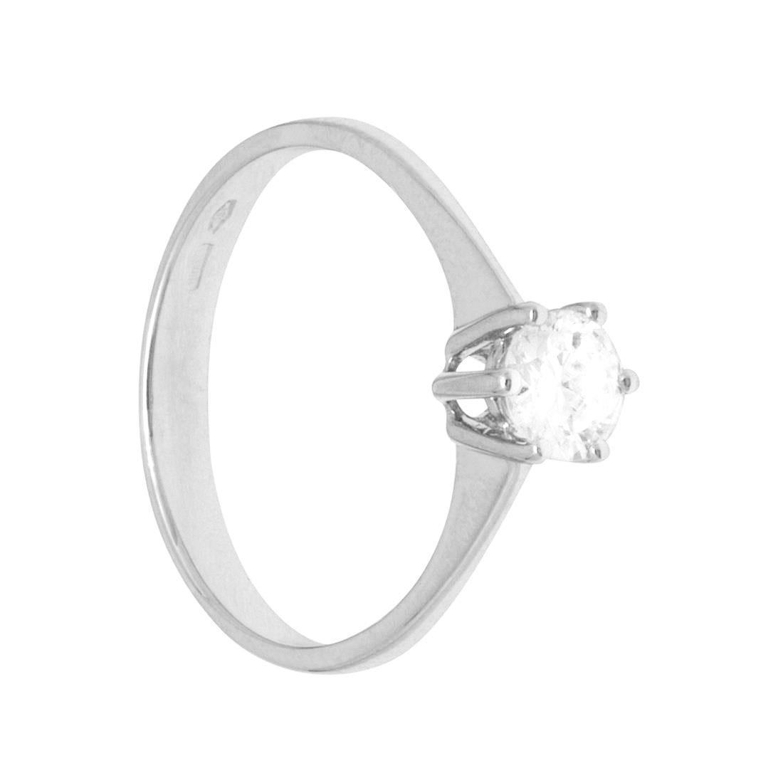 Anello in oro bianco e diamante ct 0.40, misura 14 - ORO&CO