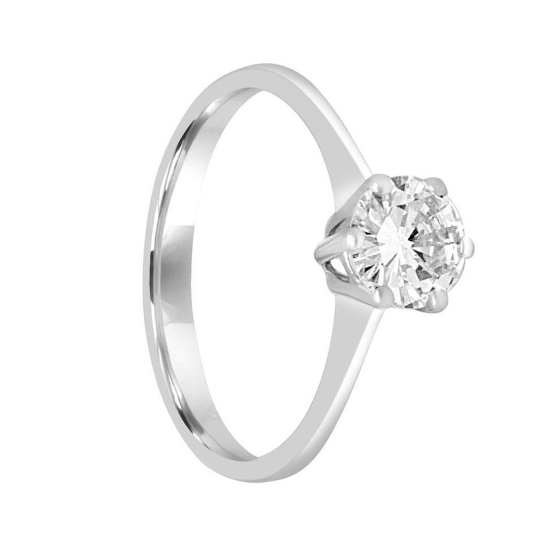 Anello solitario in oro bianco e diamante ct 0.70, misura 14 - ORO&CO