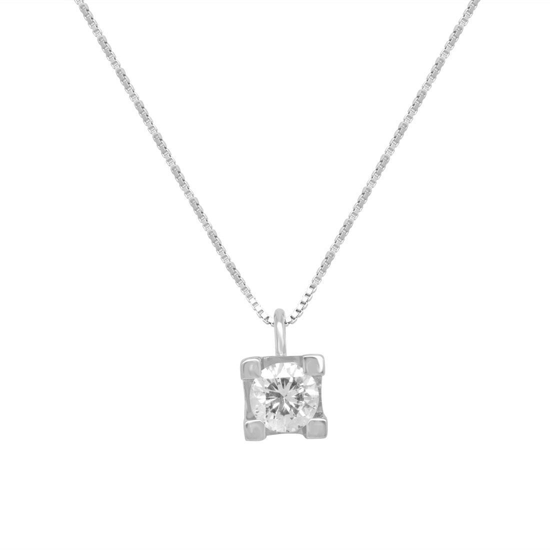 Collana punto luce in oro bianco con diamante - ORO&CO