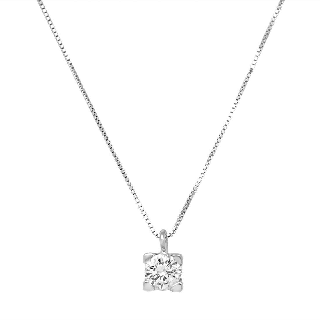Collana punto luce in oro bianco con diamante 0.40 ct - ORO&CO