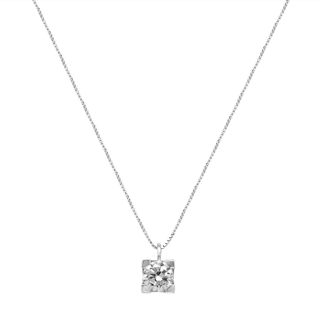Collier punto luce in oro bianco con diamanti 0.70 ct - ORO&CO