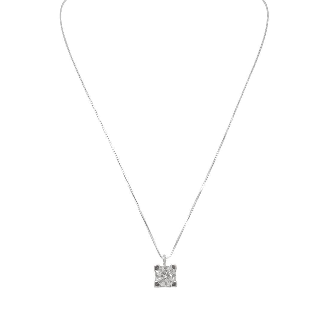 Collana punto luce in oro bianco e diamante ct 0,60, lunghezza 40cm - ORO&CO