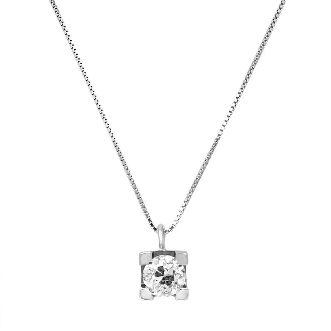 Collana punto luce in oro bianco con diamante 0.65 ct - ORO&CO
