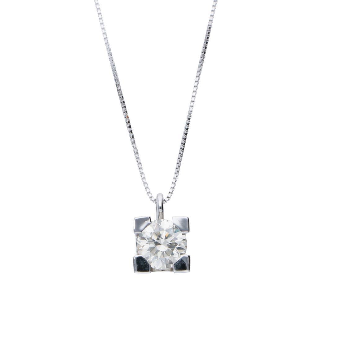 Collier punto luce in oro bianco con diamante 1.10 ct - ORO&CO