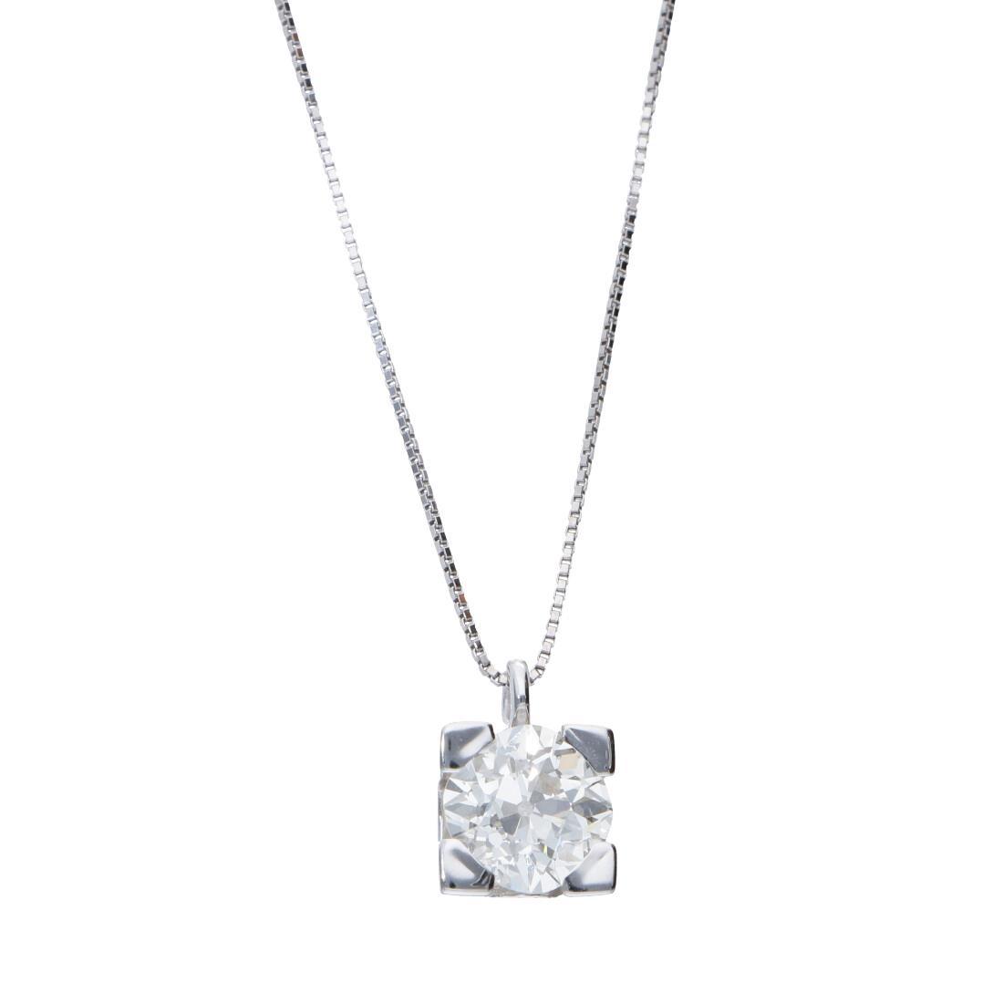 Collier punto luce in oro bianco con diamante 1.40 ct - ORO&CO