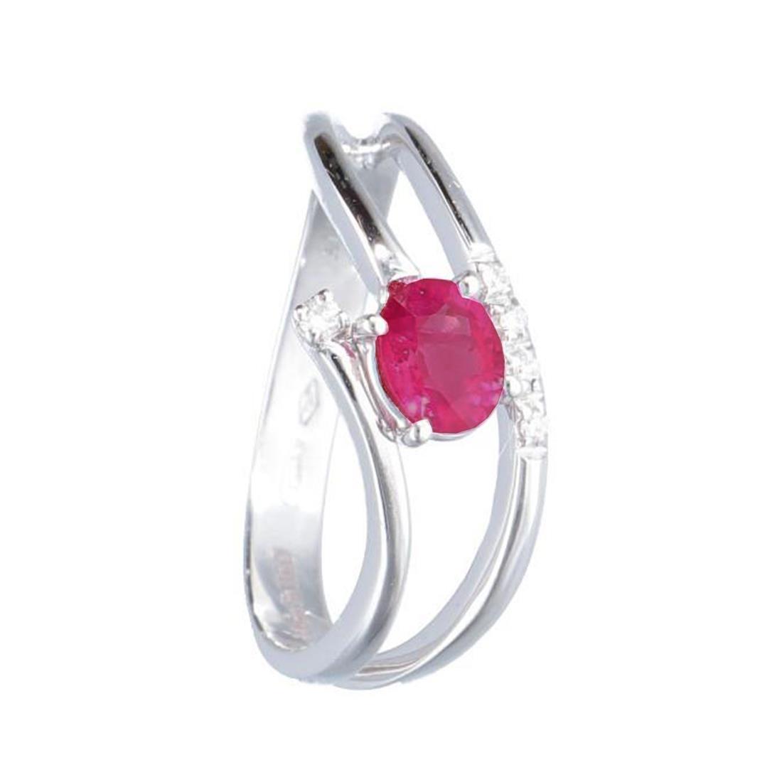 Anello in oro bianco con rubino e diamanti mis 12.5 - ALFIERI & ST. JOHN