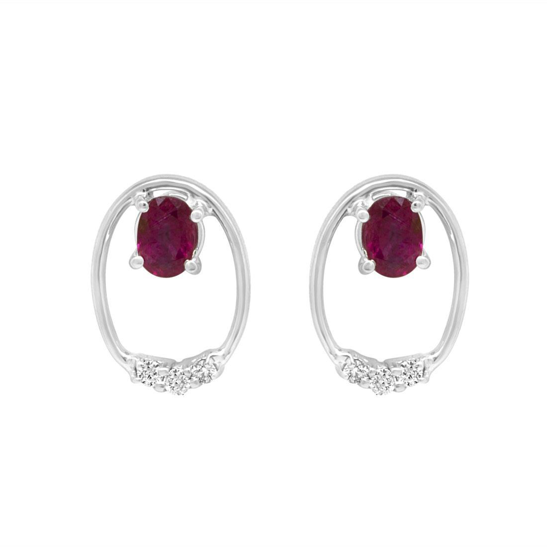 Orecchini in oro bianco con diamanti e rubini  - ORO&CO