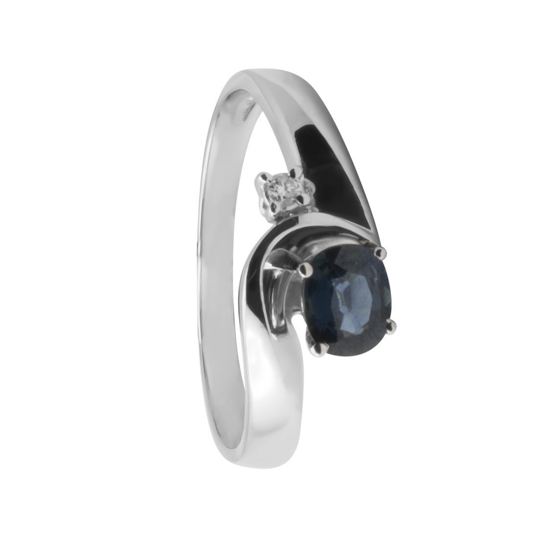 Anello in oro bianco con diamanti ct 0.02 e zaffiro ct 0.60 - ORO&CO