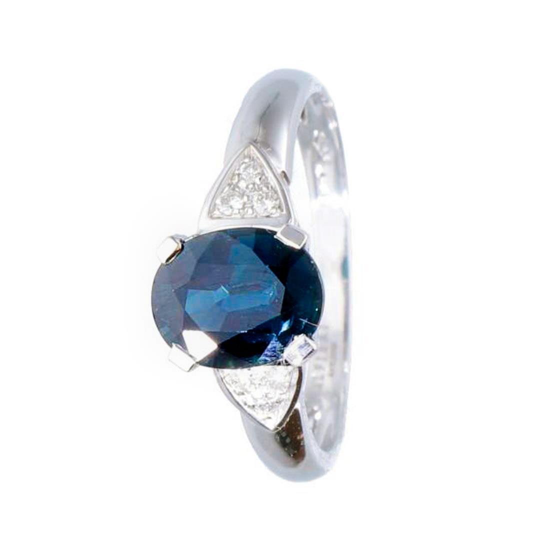 Anello con diamanti ct. 0,06 e zaffiro ct. 1,75 - ALFIERI & ST. JOHN