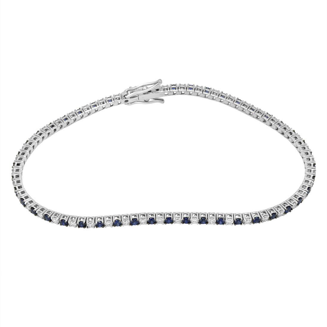 Bracciale tennis con diamanti e zaffiri - ALFIERI & ST. JOHN