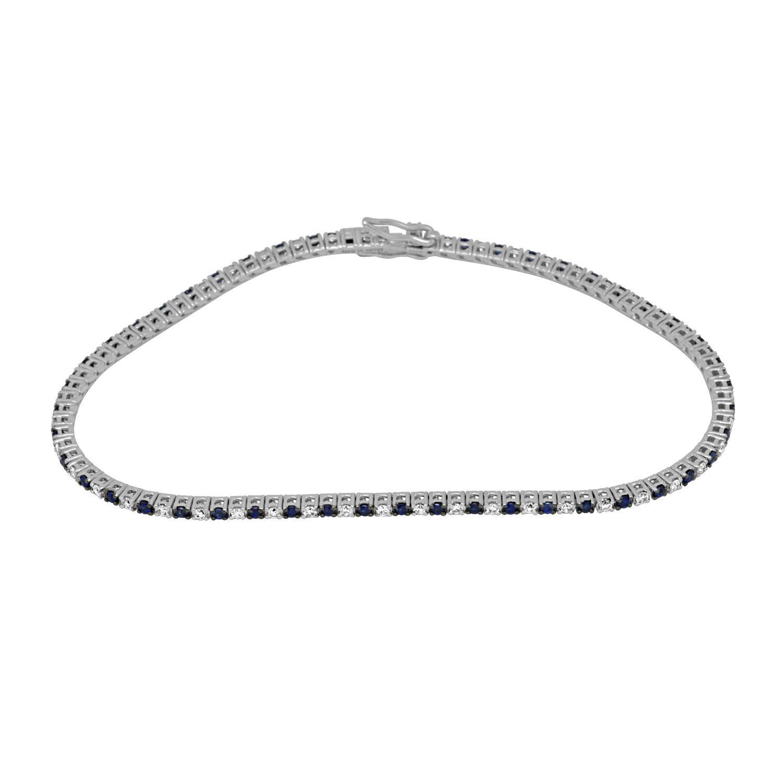 Bracciale tennis in oro bianco con diamanti e zaffiri - ALFIERI & ST. JOHN