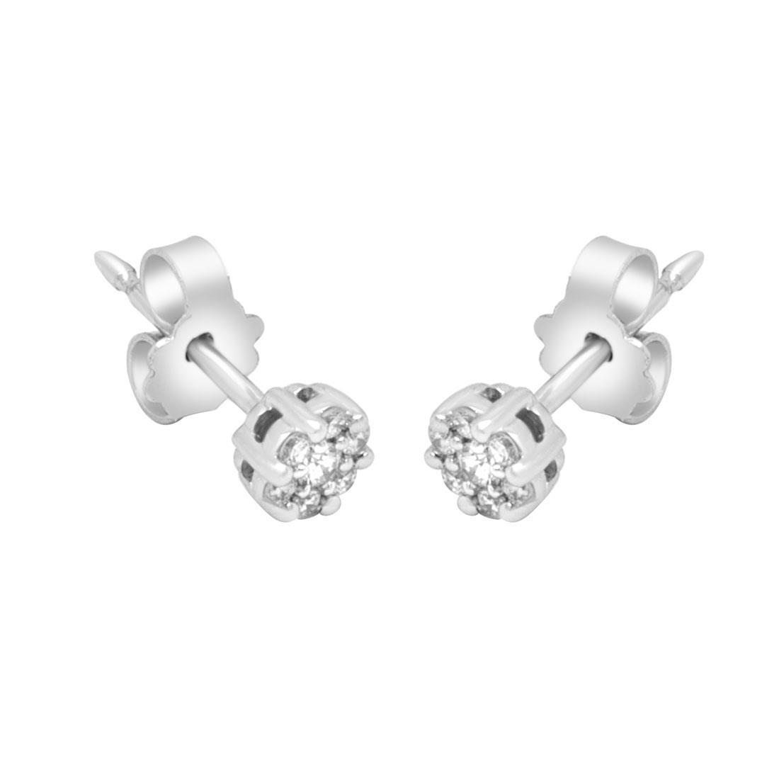 Orrecchini in oro bianco con diamanti ct 0.15 - ALFIERI ST JOHN
