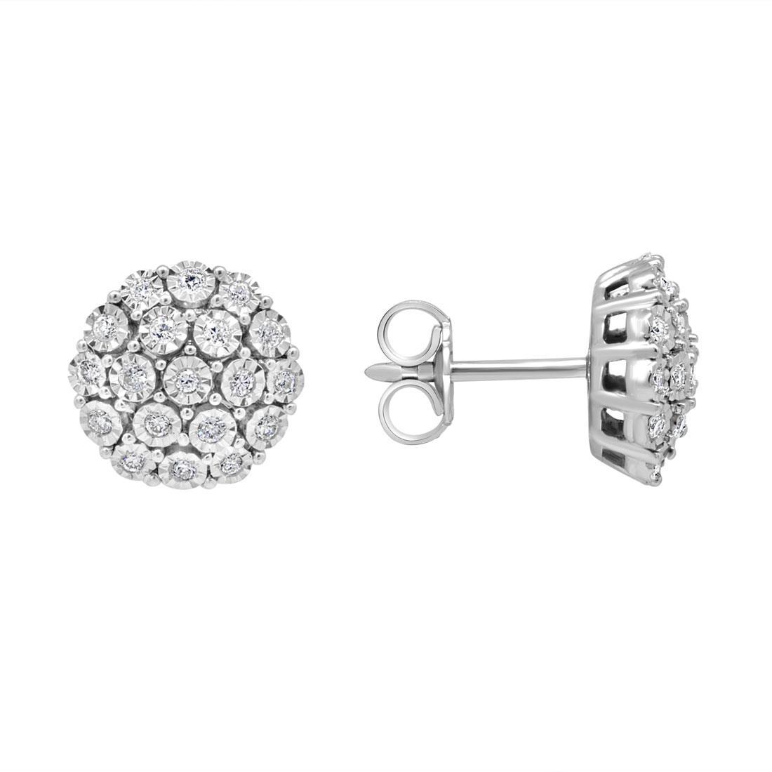 Orecchini in oro bianco con pavé di diamanti 0.20 ct - ORO&CO