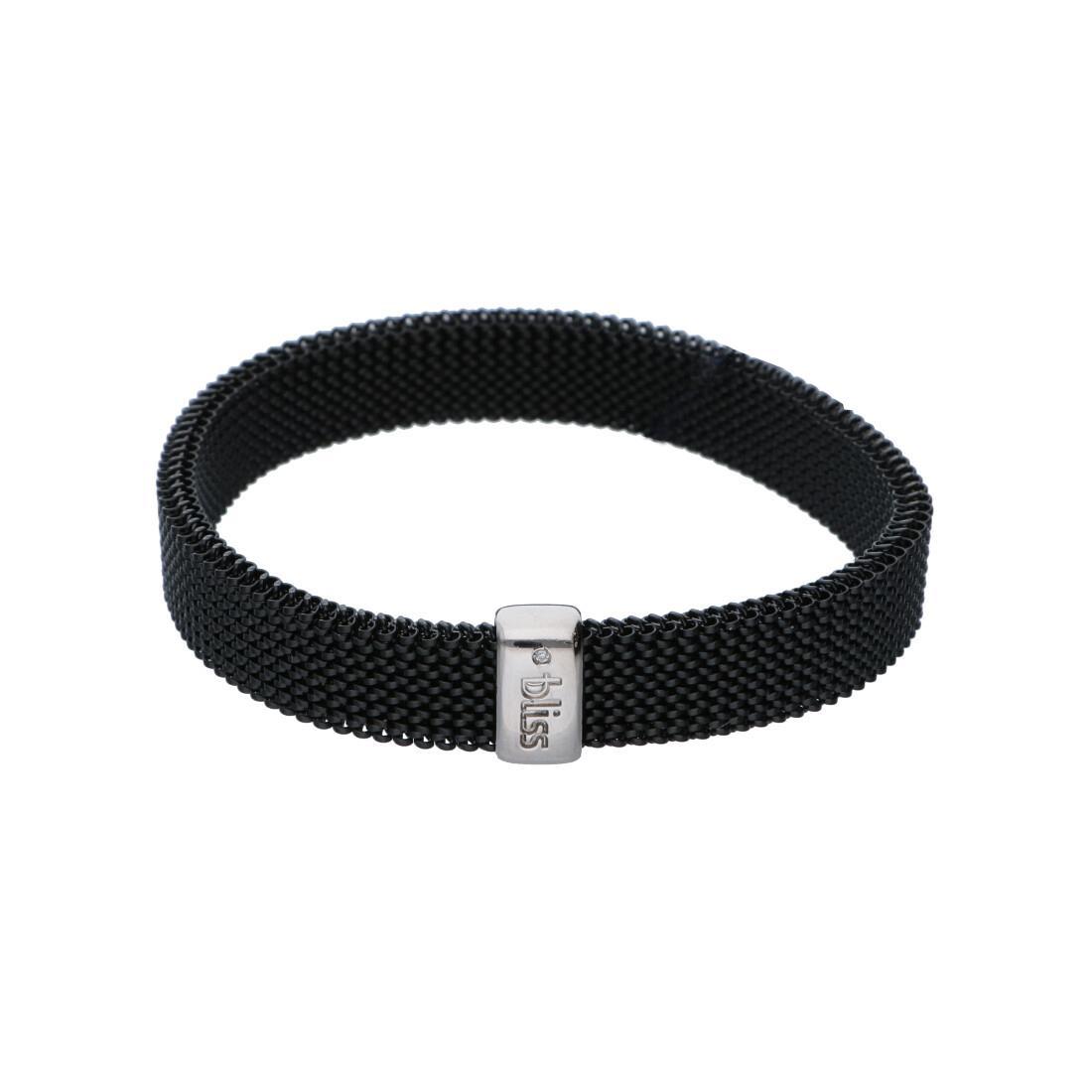 Bracciale elastico in acciaio nero con targa argento - BLISS