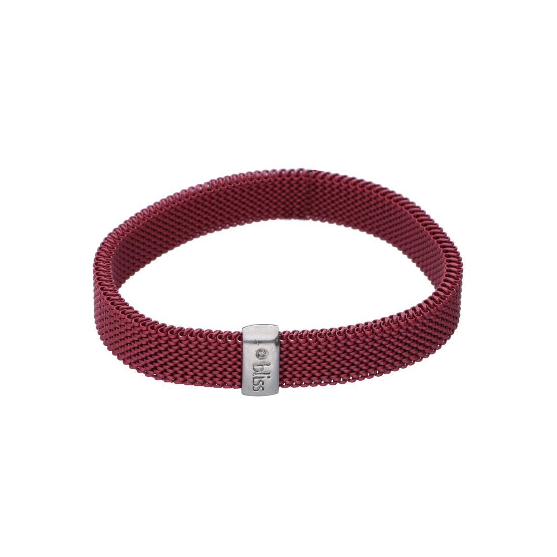 Bracciale elastico in acciaio rosso con targa argento - BLISS