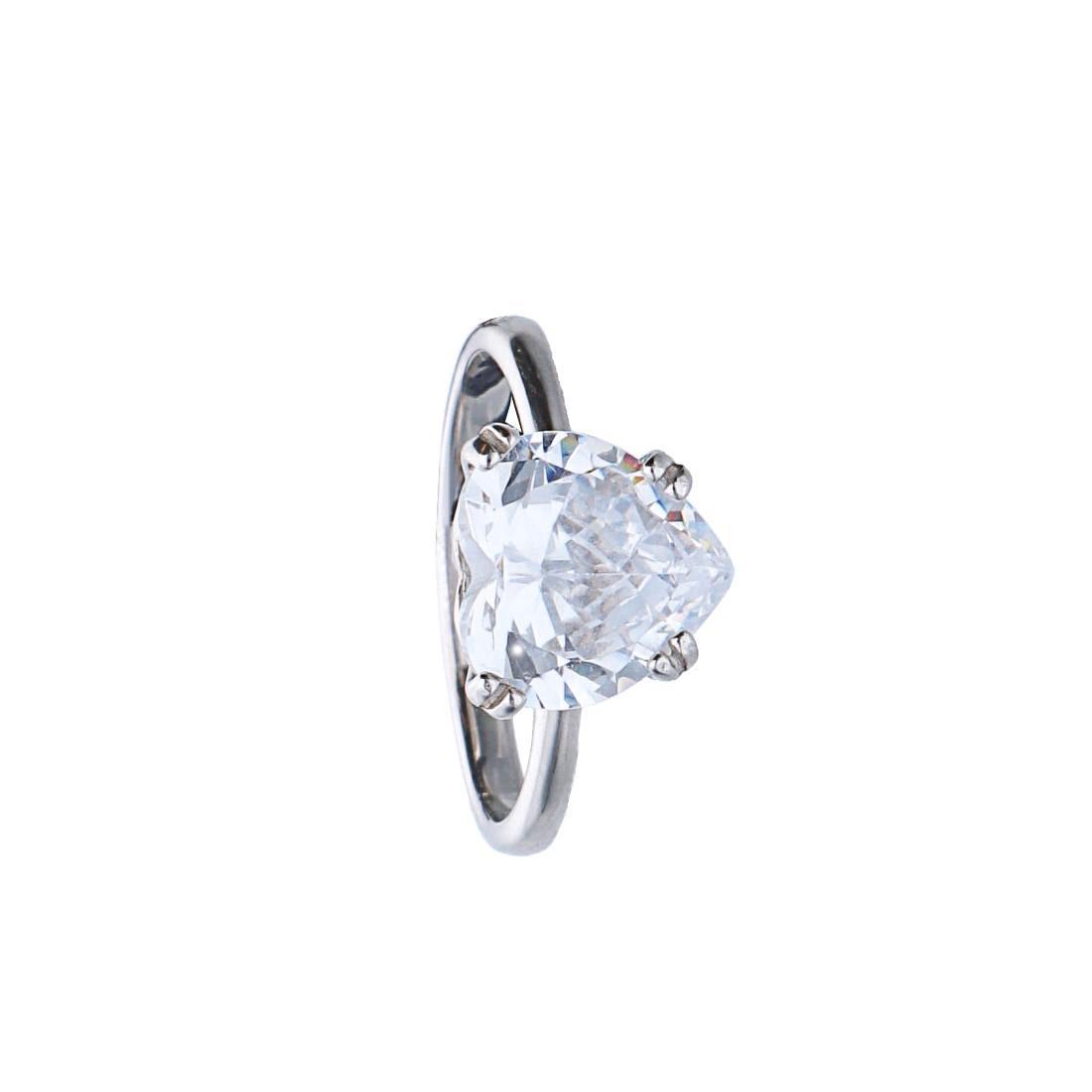 Anello in argento con pietra bianca taglio cuore mis 15 - BLISS