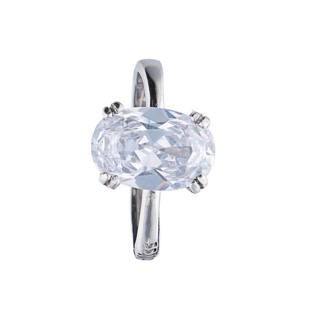 Anello in argento con pietra bianca mis 15 - BLISS