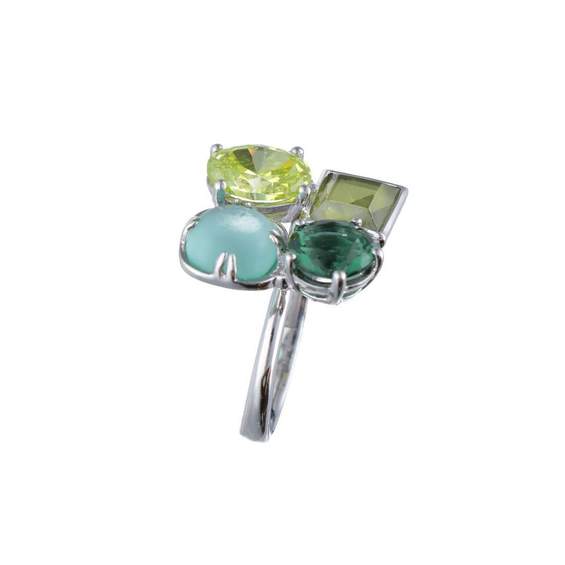 Anello in argento con pietre colorate verdi mis 11 - BLISS