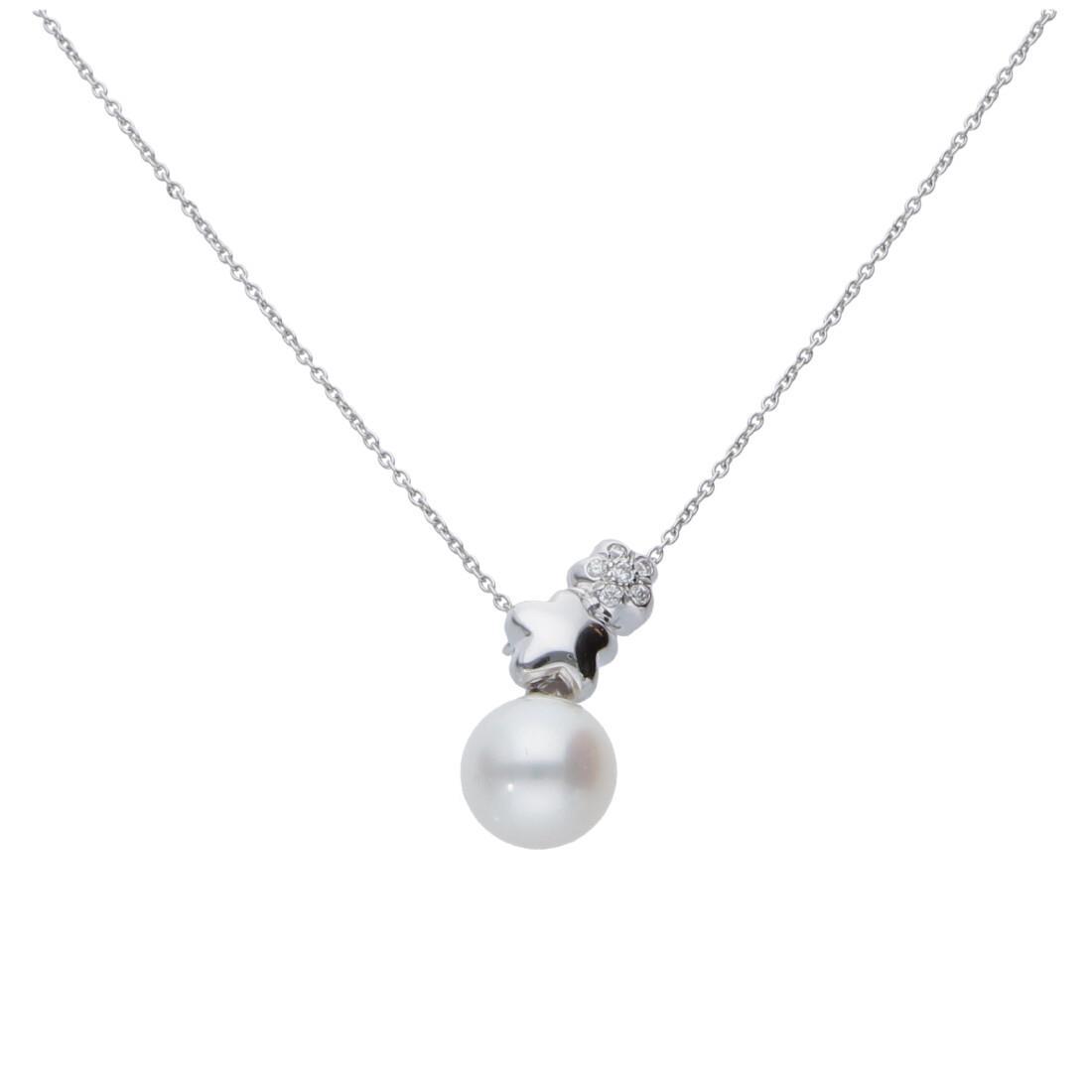 Collier in oro 18kt con perla e diamanti - BLISS