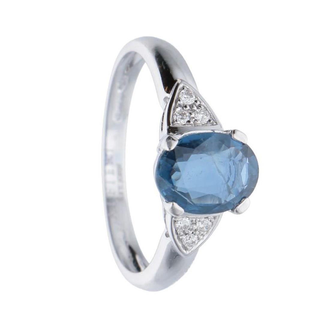 Anello in oro bianco con diamanti e zaffiro mis 13 - ALFIERI & ST. JOHN