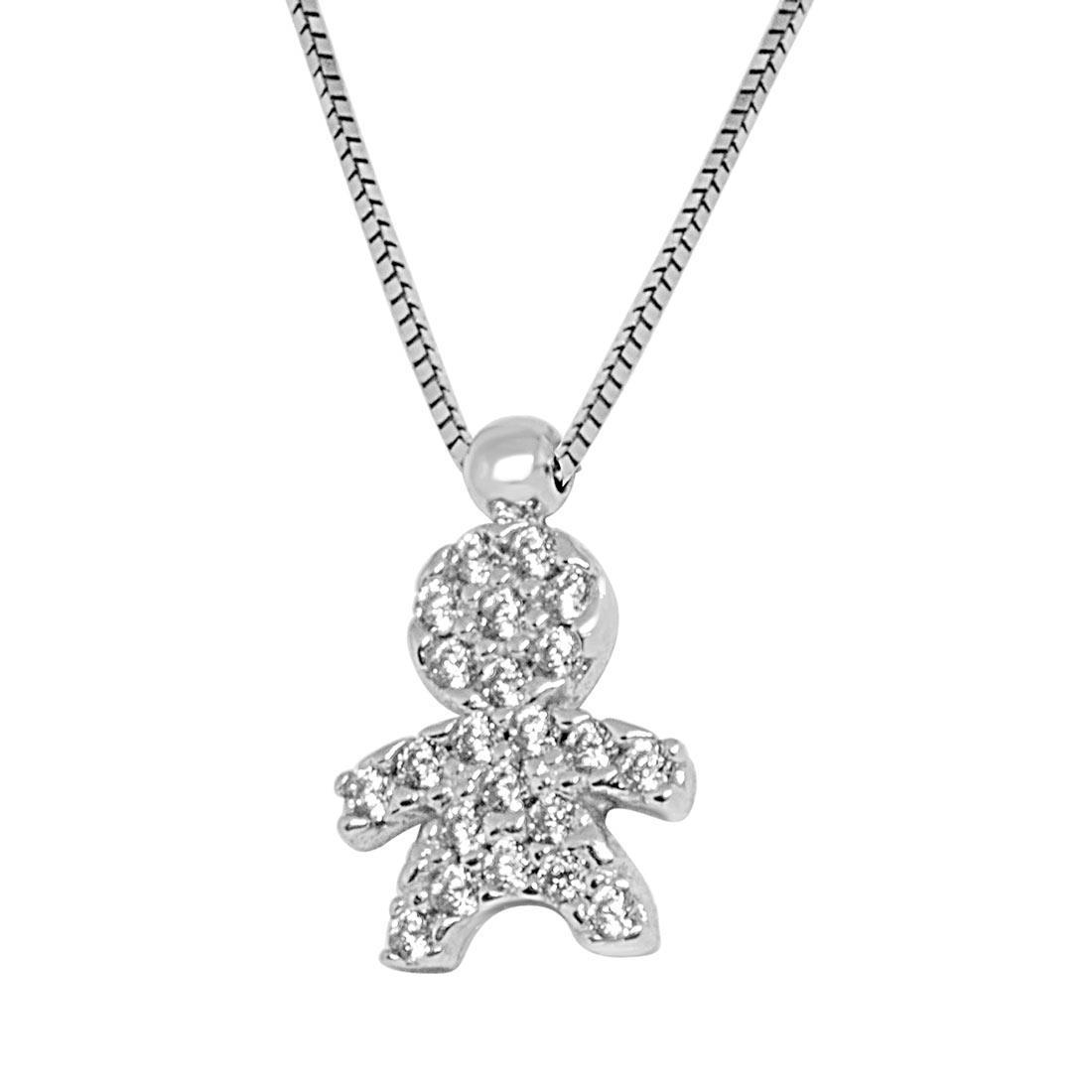 Collana in oro bianco, pendente con zirconi - ORO&CO