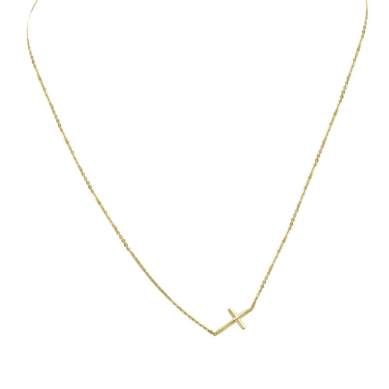 Collana in oro giallo con croce, lunghezza 40cm - ORO&CO