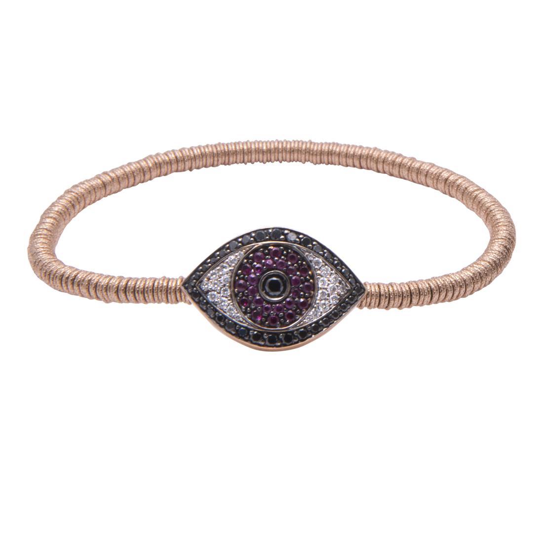 Bracciale design in oro rosso con occhio in rubini,diamanti bianchi e neri - ROBERTO DEMEGLIO