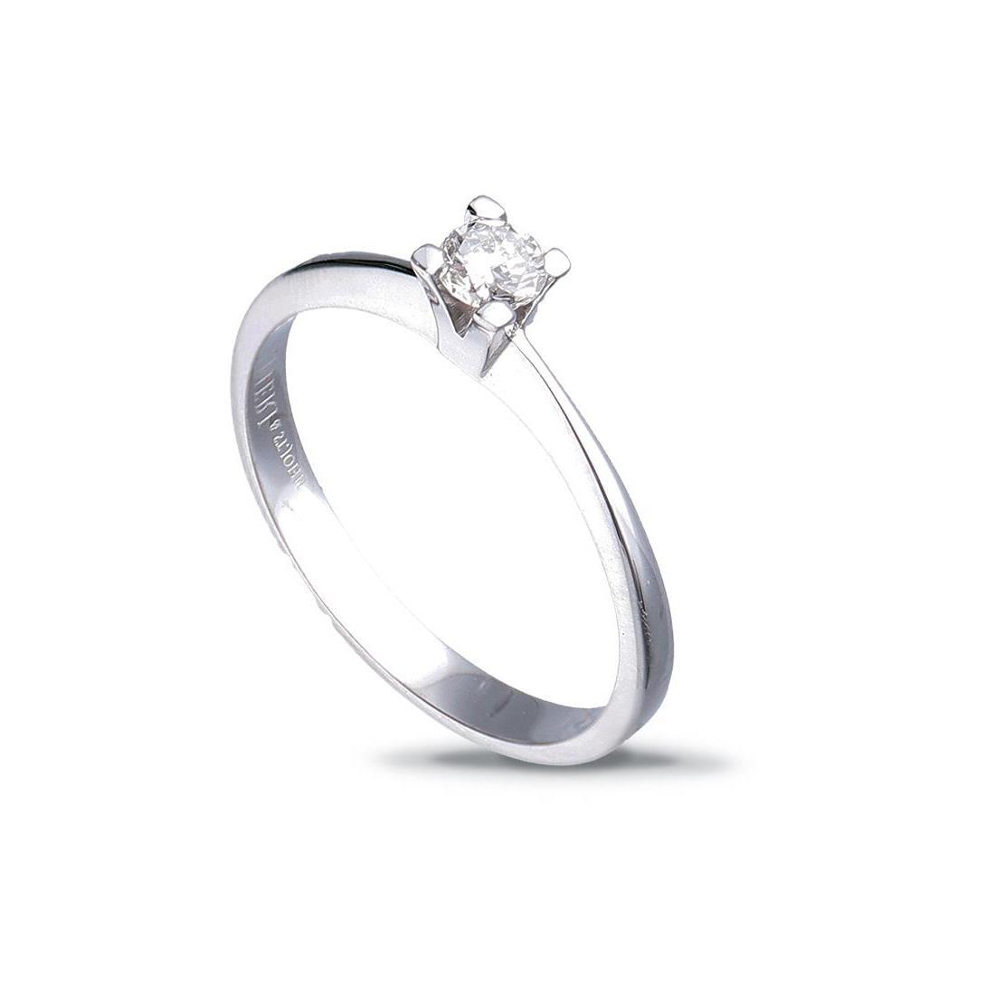 anello solitario in oro bianco con diamante ct. 0,25 - ALFIERI & ST. JOHN
