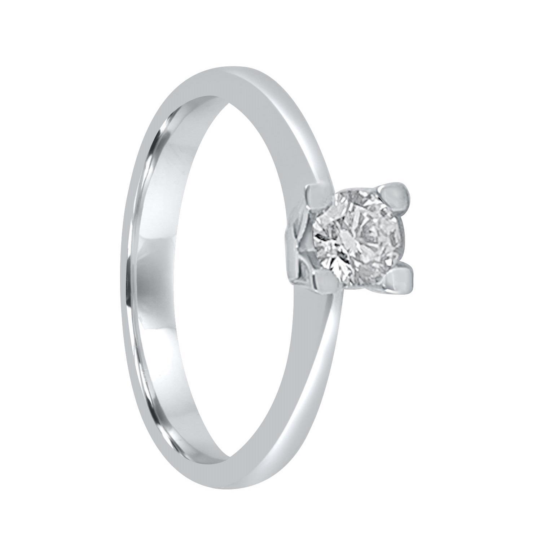 Anello solitario in oro bianco con diamante ct. 0,40 - ALFIERI & ST. JOHN
