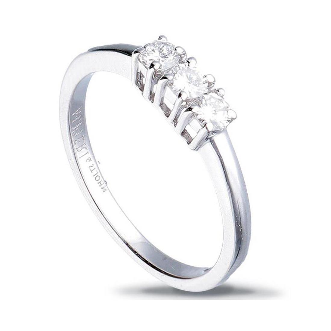 Anello trilogy in oro bianco con diamanti ct. 0,15 - ALFIERI & ST. JOHN