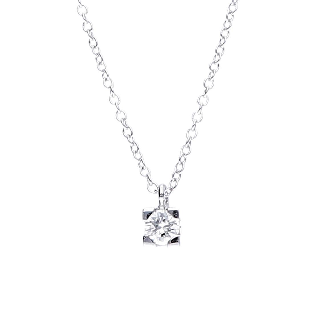 Collana punto luce in oro bianco con diamante ct. 0,40 - ORO&CO
