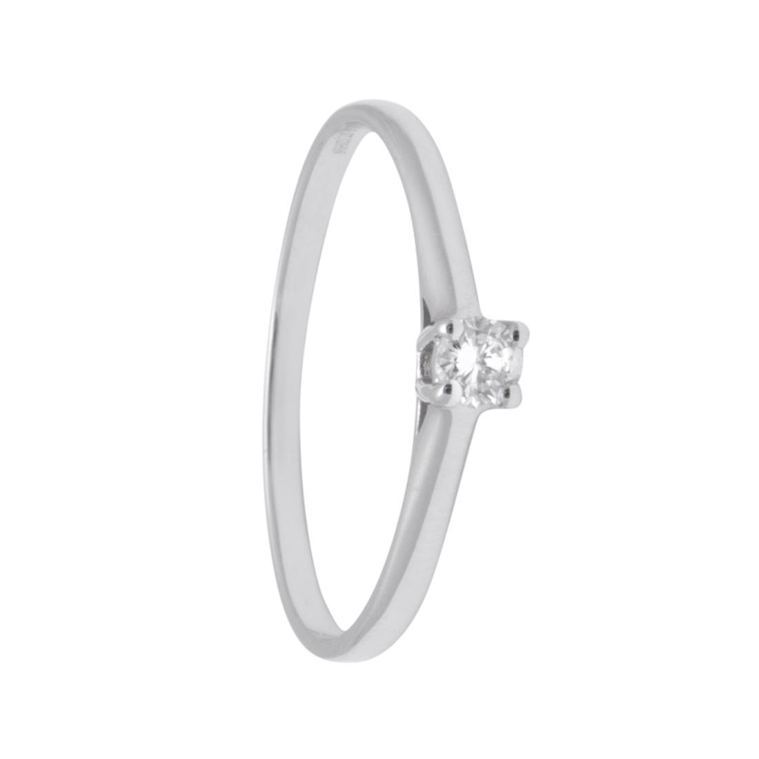 Anello solitario in oro bianco con diamante ct 0,10  - ORO&CO