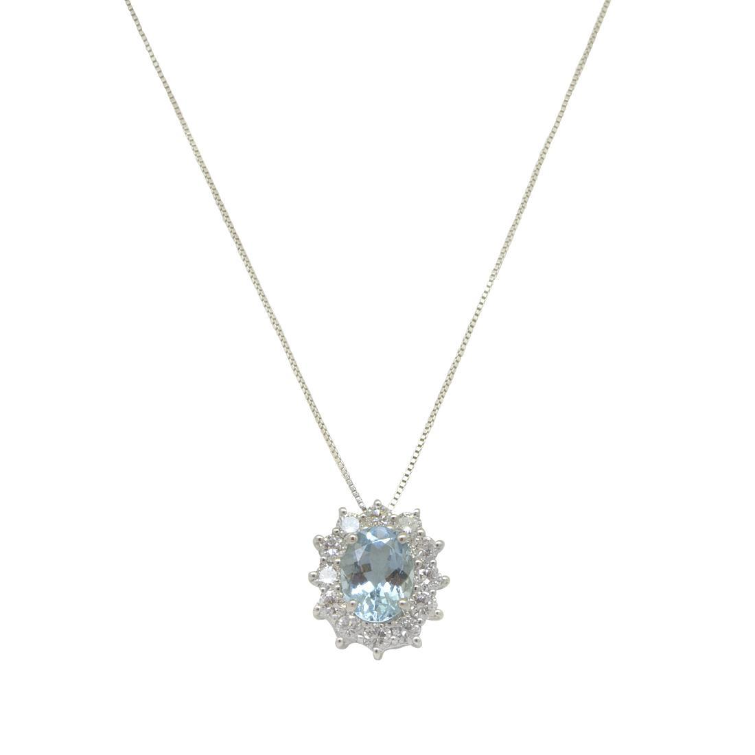 Collana in oro bianco con acquamarina e diamanti - ORO&CO